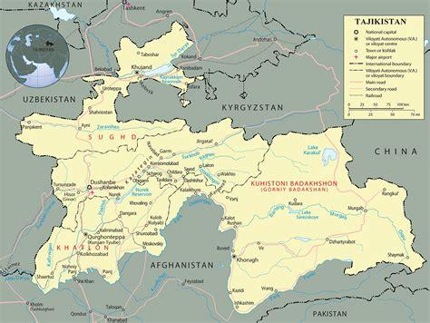 map of tajikistan tajikistan map dushanbe