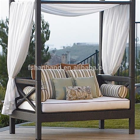 Patio Sofa Bed Canopy Daybed Outdoor Wicker Sun Sofa Lounge Modern