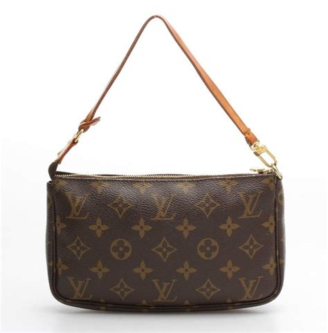 louis vuitton brown monogram canvas pouchette bag