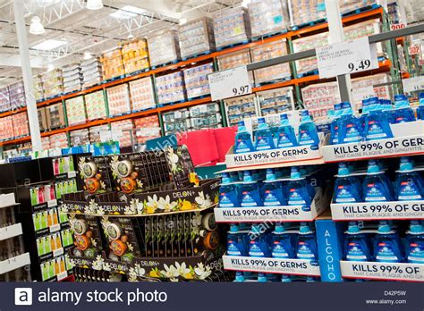 costco bulk products on display at a costco wholesale warehouse club stock photo royalty free