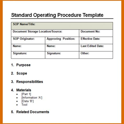 procedure template word 11 standard operating procedure template word