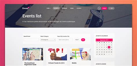 ja events ii best responsive joomla events template