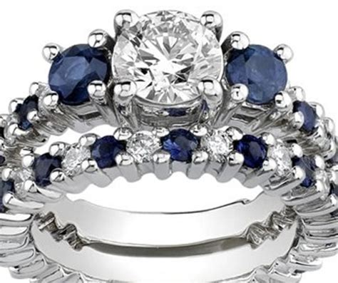 White Gold Synthetic Diamond Sapphire Engagement Set Rings