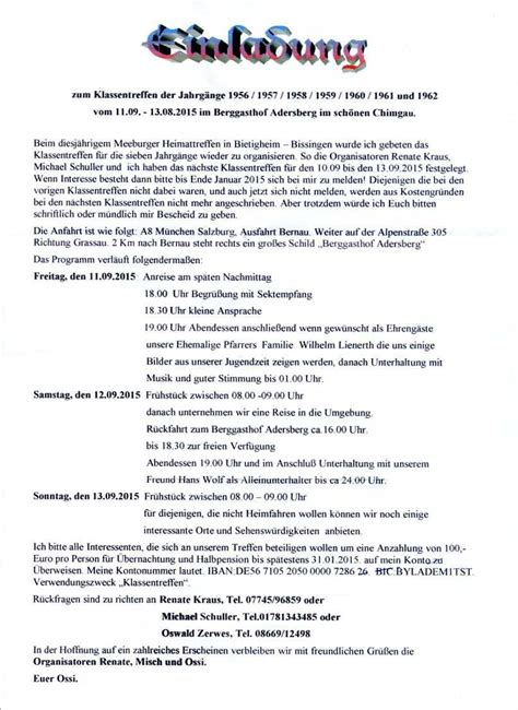 Muster Einladung Firmenjubiläum Einladungen Zum Klassentreffen Epagini Info