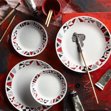 mosaic pattern dishes corelle 32 piece livingware mosaic red dinnerware set