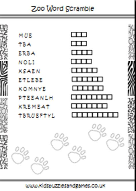 free printable zoo word search zoo word scramble kids puzzles and games