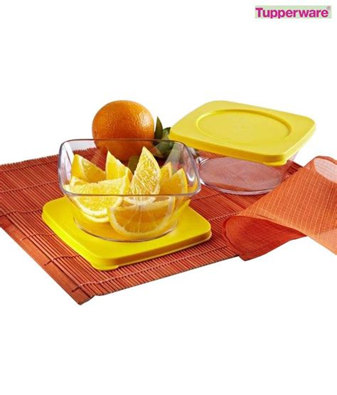 Clear Square Bowl Tupperware 1pcs tupperware square clear bowl set 450 ml each available at