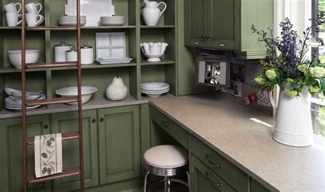 painting kitchen cabinets green gray corian countertops design ideas