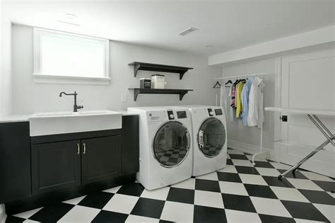 Laundry Room Apron Sink Traditional Laundry Room Black And White Laundry