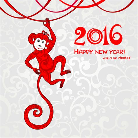 new year of monkey 2016 the monkey new year design vector 02 vector