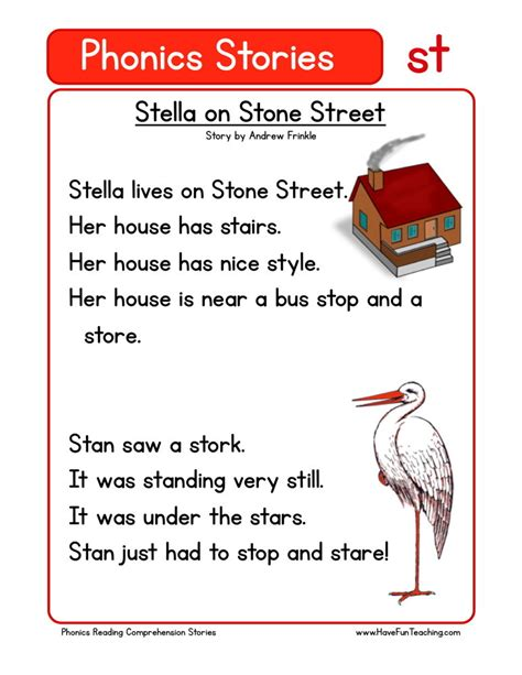 reading comprehension worksheet stella  stone street