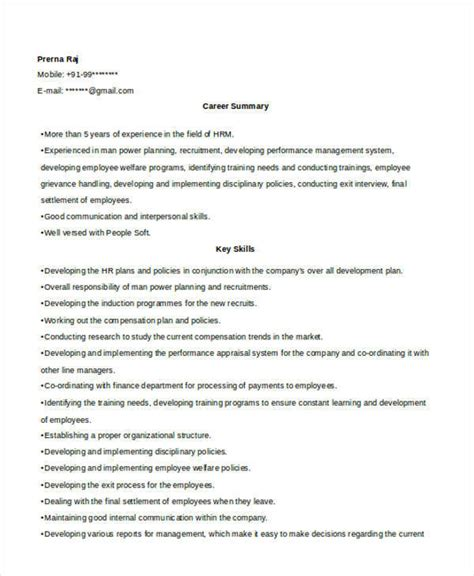 sle cv for hr officer sle resume hr 28 images sle resume for human resources