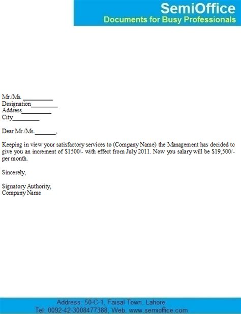 Raise Letter To Employee Template Salary Increase Notification Letter Sle For Employees
