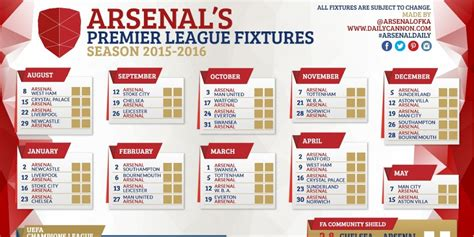 arsenal schedule arsenal 2015 16 fixture wallpapers and printable wallchart