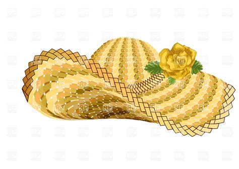 Straw Hat Clipart straw hat with flower vector clipart image 36690