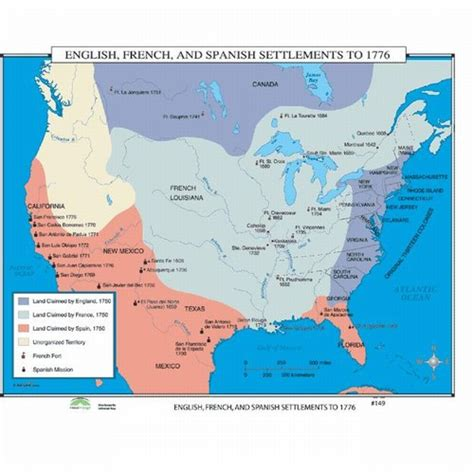 pattern of french settlement in north america map of french spanish english settlements in north