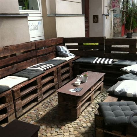 cafe bench seating outdoor pallet seating at berlin cafe since when did