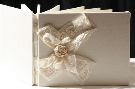 Handmade Wedding Book - guest book ivory tulle lace wedding guest book