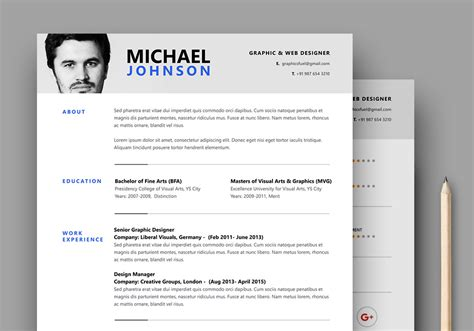 resume template photoshop resume cv psd template graphicsfuel