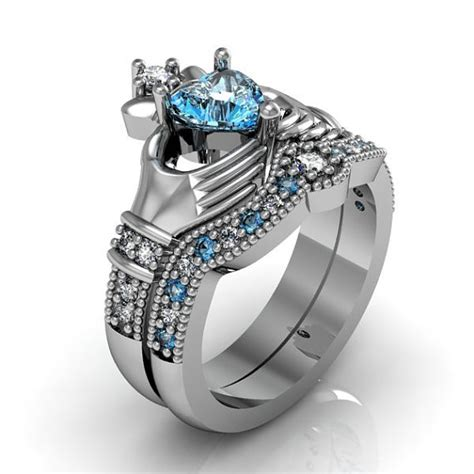 claddagh ring sterling silver blue topaz and