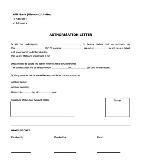 authorization letter for bank template sle bank authorization letter 9 free exles format
