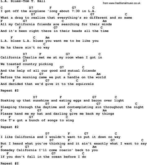 blues lyrics country la blues tom t lyrics and chords
