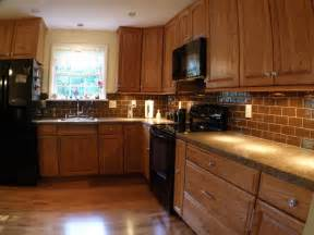honey oak kitchen kitchen traditional with tile backsplash