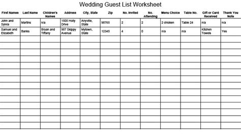 Sle Wedding Guest List Spreadsheet by 17 Wedding Guest List Templates Excel Pdf Formats