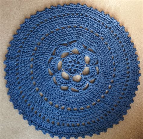 T Shirt Yarn Rug by Crochet Around Rug Of T Shirt Yarn In The Color Denim Blue