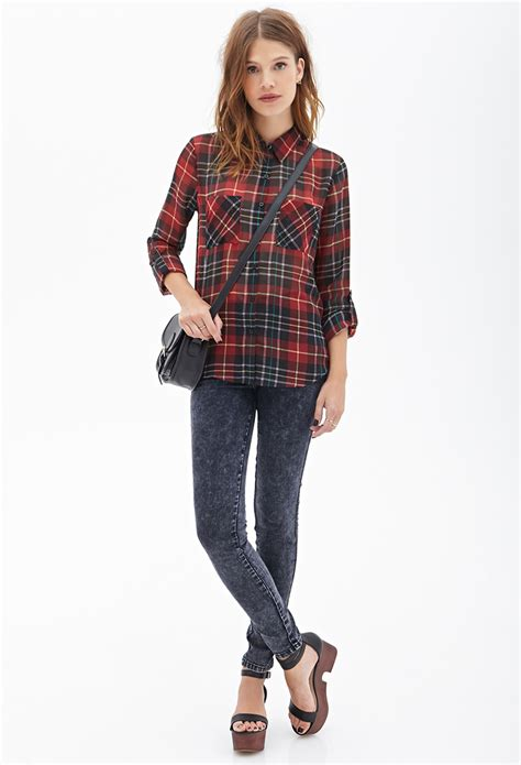lyst forever 21 tartan plaid chiffon blouse in