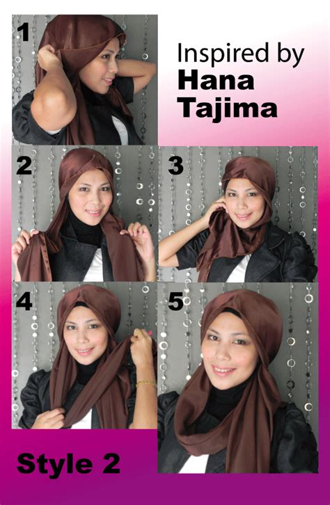 tutorial hijab hana shawl satin inspired by hana tajima yuna style