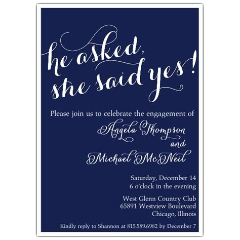 she said yes engagement party invitations paperstyle