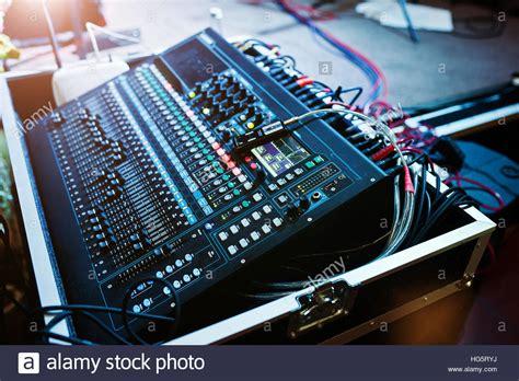 Audio Mixer Belt Up digital mixing console sound mixer panel closeup of audio stock photo royalty free