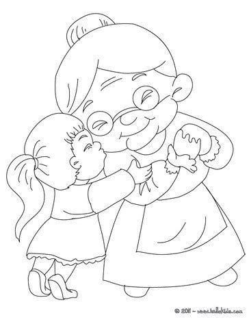 girl hugging grandma coloring pages hellokids com