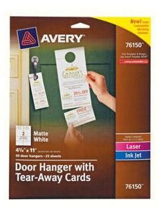 avery free templates door hanger with tear away cards avery laser microperforated business cards 2 x 3 12 white