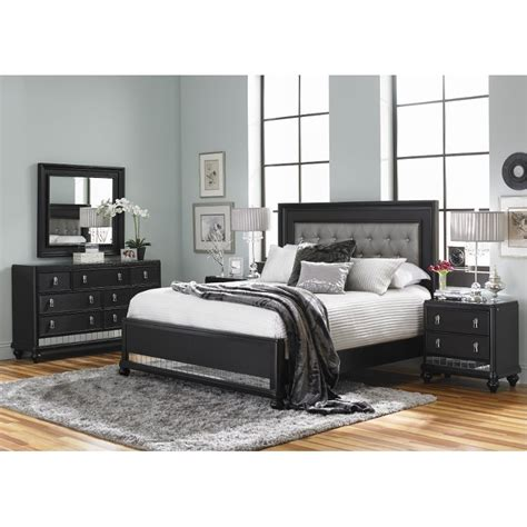 diva midnight black queen  piece bedroom set