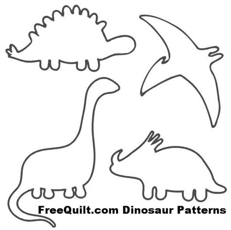 Dinosaur Templates To Print by Dinosaur Patterns Free Quilt Patterns For 4 Dinosaurs