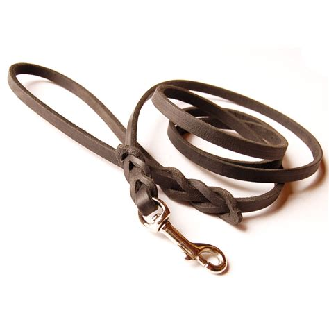 puppy leash leather leash braided handle solid brass snap