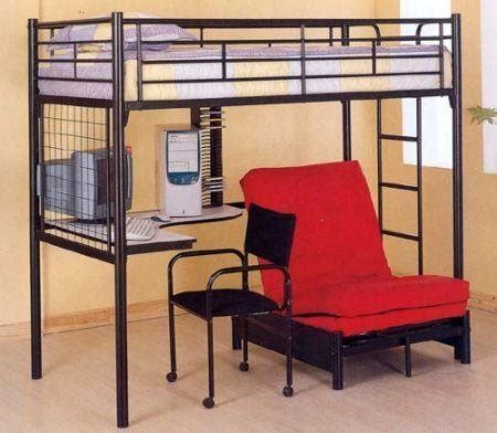 bunk bed with desk and futon chair black finish metal bunk bed w futon desk chair cd