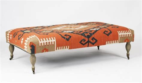Kilim Coffee Table Rustic Coral Orange Woven Kilim Coffee Table Ottoman