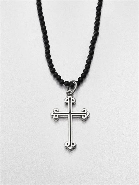 king baby studio traditional cross beaded necklace in