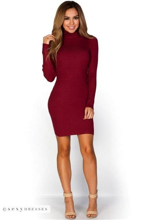 Ribbed Knit Sleeve Dress quot liv quot burgundy ribbed knit turtle neck sleeve