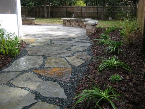 flagstone walkway leading to paver patio flickr photo