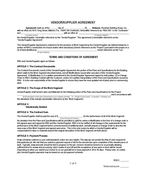 supplier agreement template vendor supplier agreement free