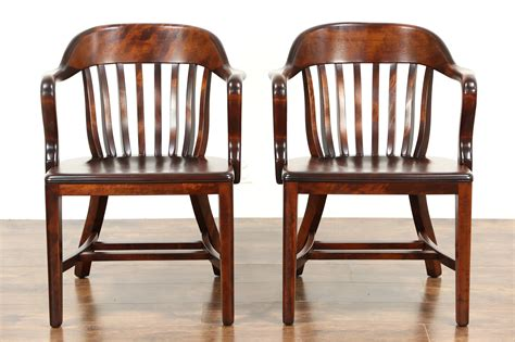 Library Chair by Sold Pair 1920 Antique Birch Banker Office Or Library