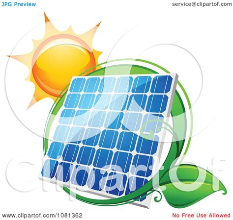 clipart sun above a solar panel with a green leaf circle 2