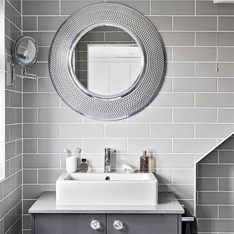 modern bathroom mirrors modern grey bathroom with mirrors ideal home