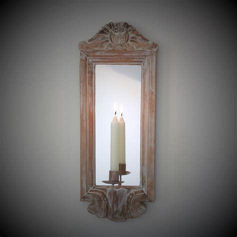kerzenhalter spiegel wandspiegel mit kerzenhalter echtholzrahmen 54x20 cm