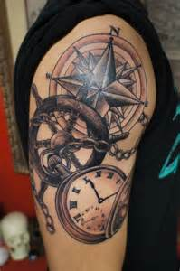 nautical tattoos nautical compass and pocket watch tattoo on right half sleeve