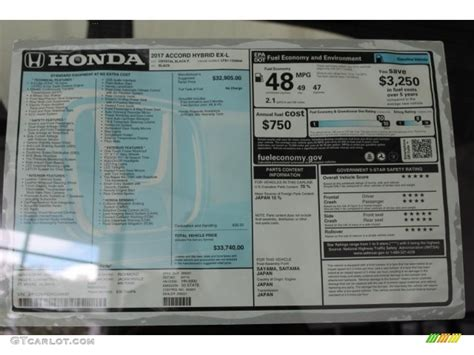 Honda Accord Sticker by 2017 Honda Accord Hybrid Ex L Sedan Window Sticker Photos